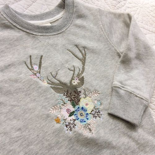 Whimsical forest dear embroidered children's sweatshirt
