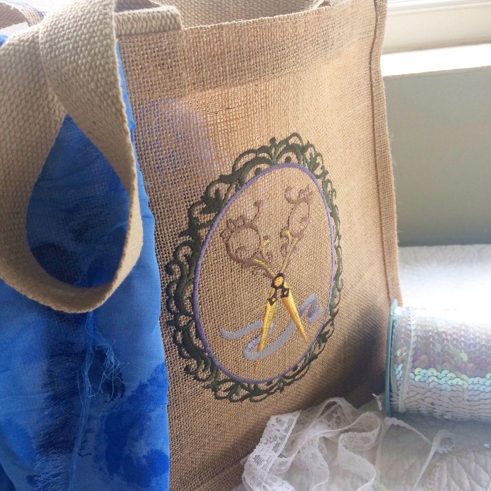 Personalised large jute tote shopping bag