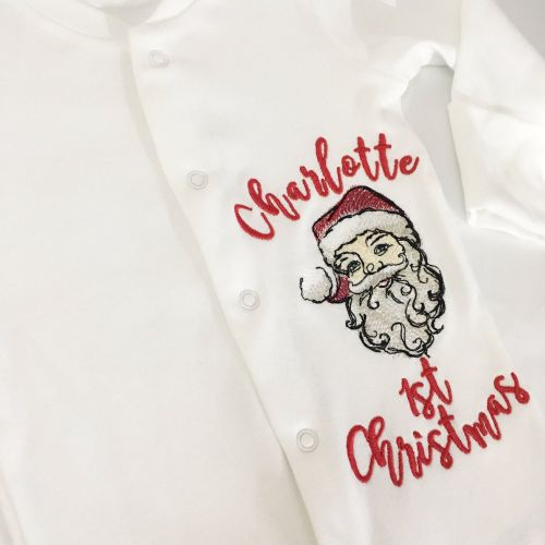 Personalised Baby's first christmas sleepsuit  Father Christmas