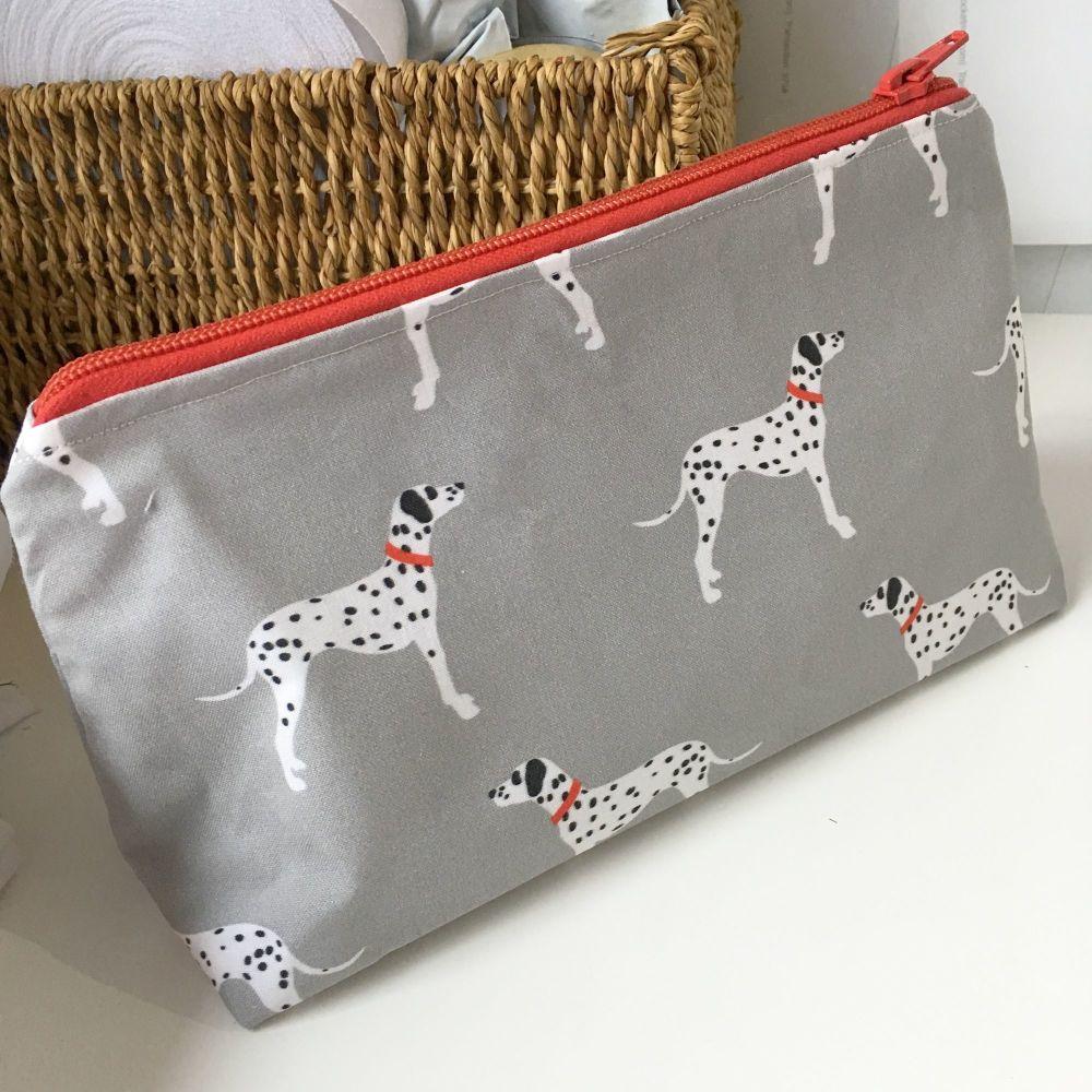 Dalmatian zip up make up bag pencil case