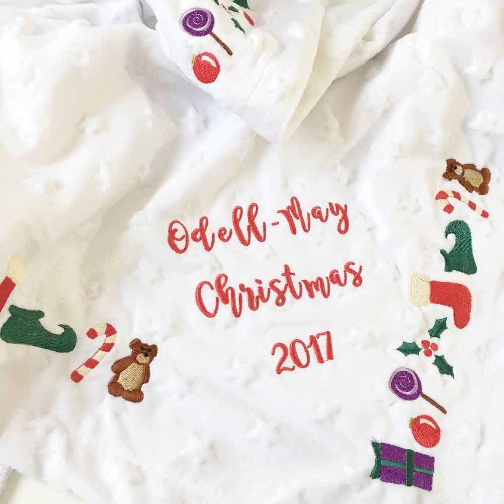 Personalised Baby's first christmas embroidered minkee fleece cot blanket 2