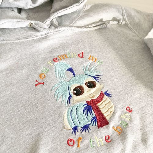 Labyrinth worm inspired Babe with the power adult hoodie