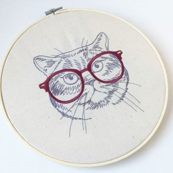 Kitty cat embroidered wall art