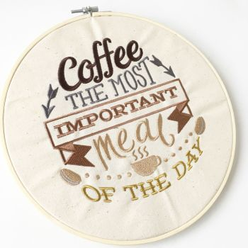 Coffee is the most important meal of the day embroidered wall art