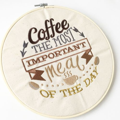 Coffee embroidered wall art