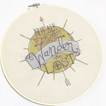 Not all who wander are lost embroidered wall art