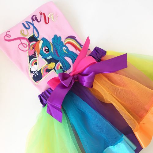 Rainbow dash my little pony personalised T shirt and tutu set by Jellibabie