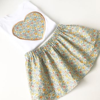 Liberty print children's skirt and applique T shirt set