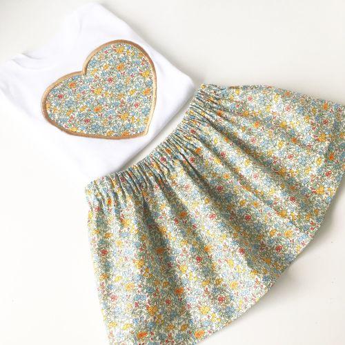 Liberty print children's skirt and applique T shirt set