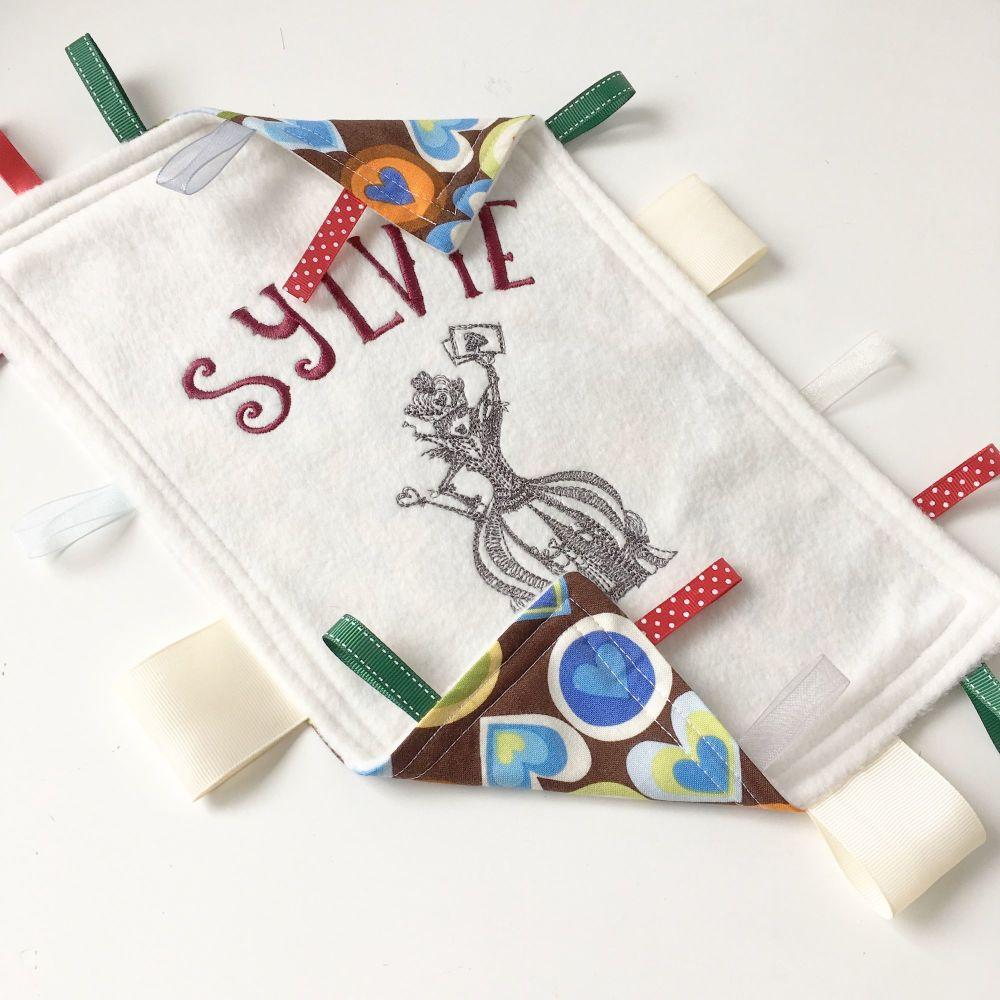 Alice in Wonderland  baby Taggy Blanket