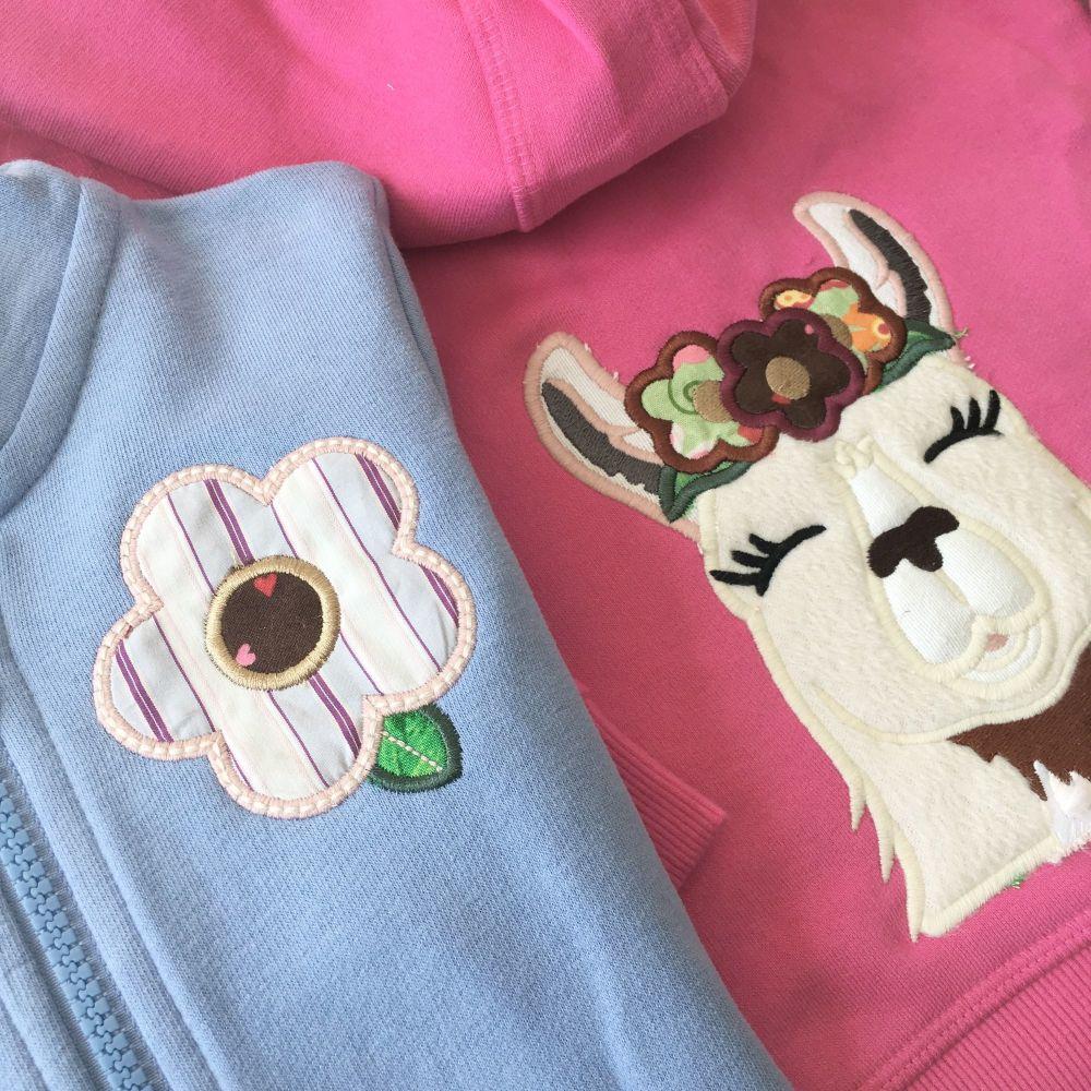 Llama hoodie zip top by Jellibabies        Can be personalised