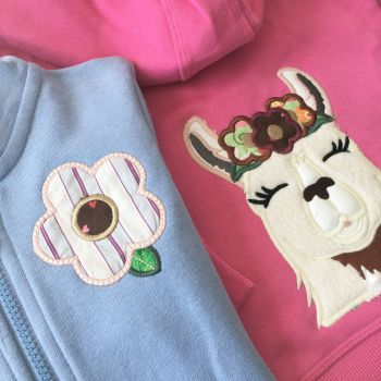 Llama hoodie zip top by Jellibabies        Can be personalised