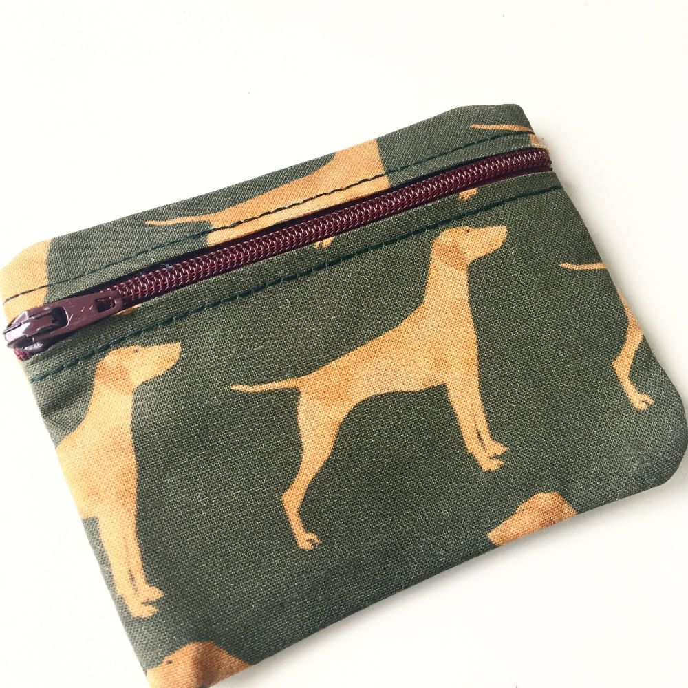 Hungarian Vizsla zip up coin purse and pill pouch