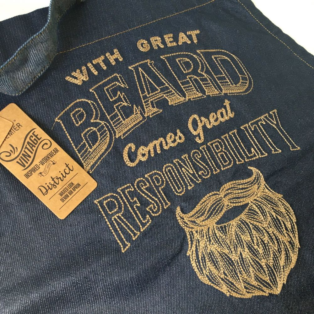 With great beard comes great responsibilty fathers day apron