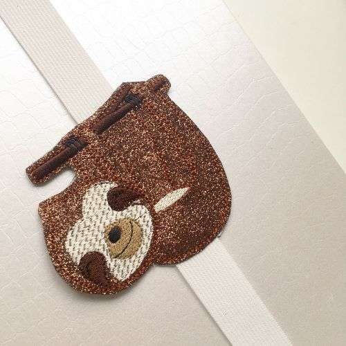 Embroidered Sloth bookmark