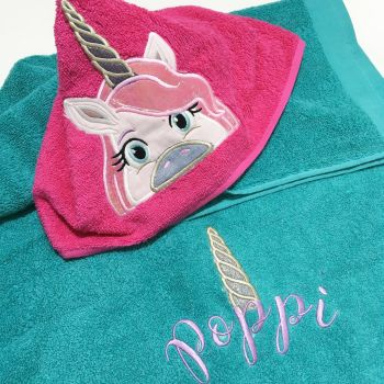 Unicorn personalised hooded baby towel