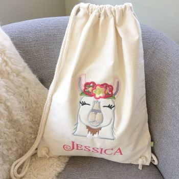 Llama love personalised drawstring bag