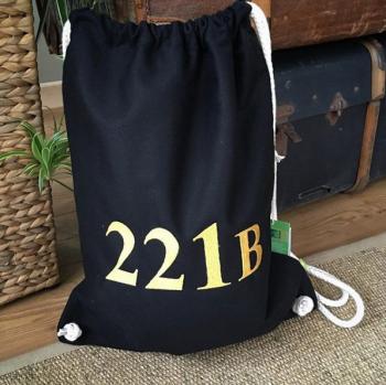 Sherlock Holmes 221B drawstring bag