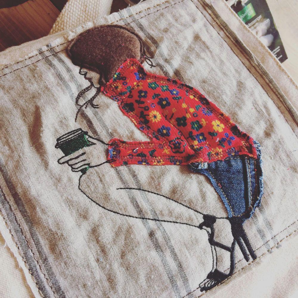 Coffee girl organic fair trade messenger bag