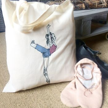 Dancers bag embroidered cotton tote  shopping bag