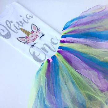 Unicorn tutu and onesie vest set or T shirt
