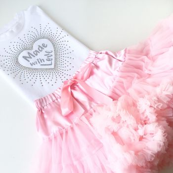 Made with love rhinestone tutu and onesie vest set or T shirt