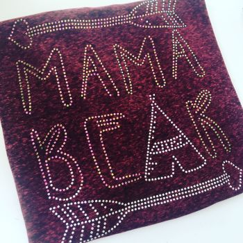 Rhinestone mamma bear adults T shirt