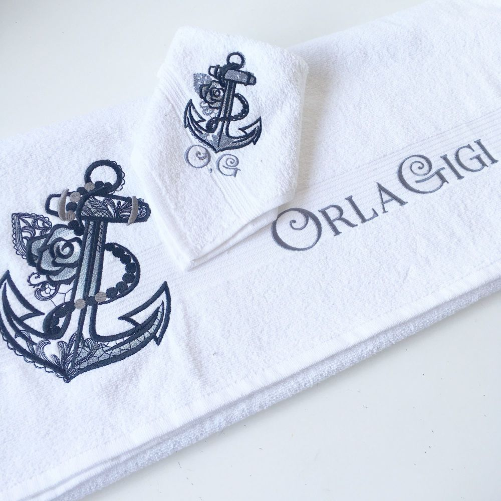 Rose anchor new baby towel & face cloth set