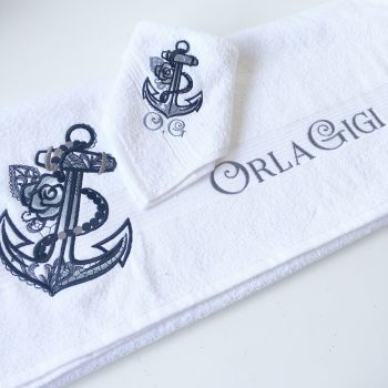 Rose anchor new baby bath towel & face cloth set