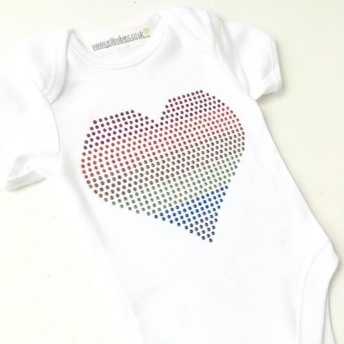 3f47abd9c LGBT Rainbow Rhinestone baby onesie vest at jellibabies personalised baby  and children's clothes and accessories UK