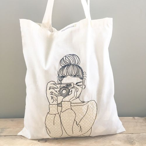 Camera girl embroidered cotton tote  shopping bag
