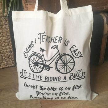 "Teachers gift ""Riding a bike"" cotton tote shopping bag"