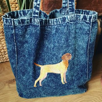 Denim Hungarian Vizsla lover  tote shopping bag