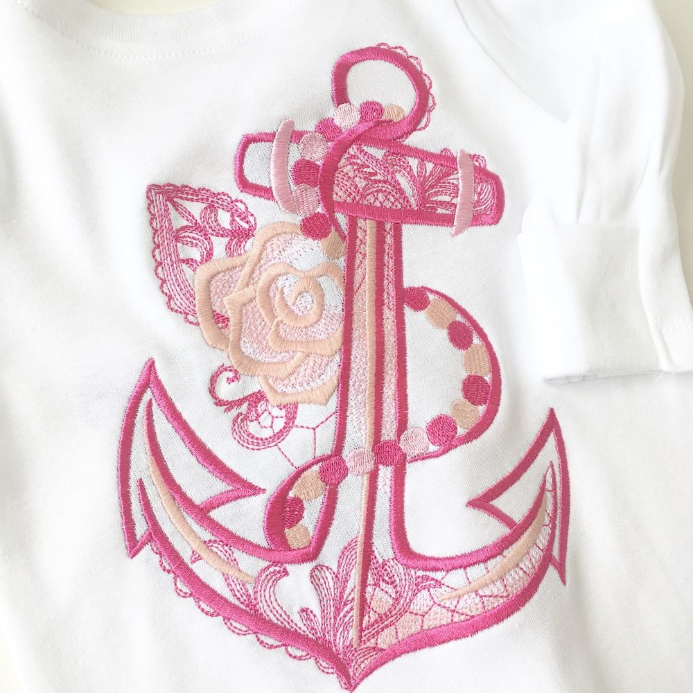 Anchor and rose + name babygrow for Norma