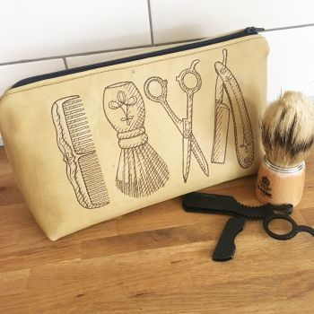 Upcycled leather embroidered mens costmetics bag