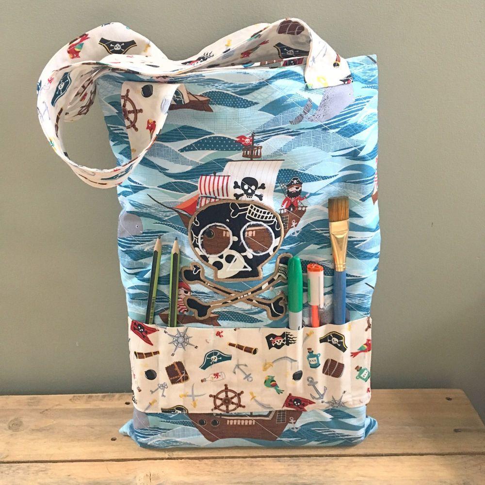 Pirate Nautical  colouring book tote bag book bag