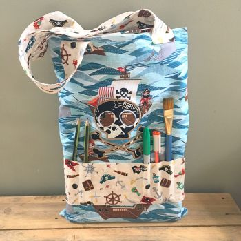 Pirate Nautical  colouring book tote bag book bag