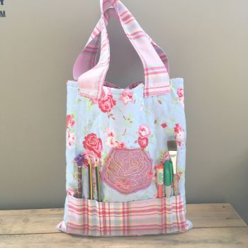 Vintage floral rose colouring book tote bag book bag