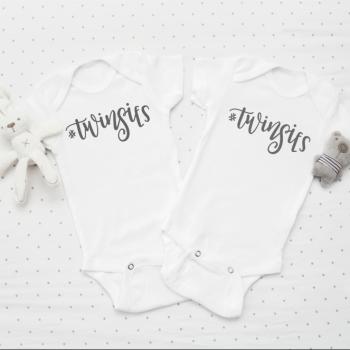 #Twinsies baby onesie vest set