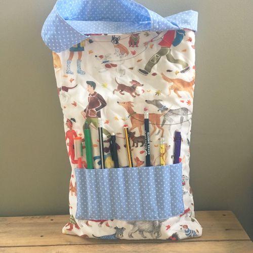 Dog lovers winter walkies colouring book tote bag book bag