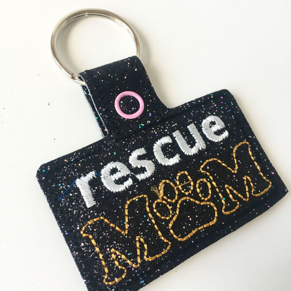 Rescue dog mum key ring key fob