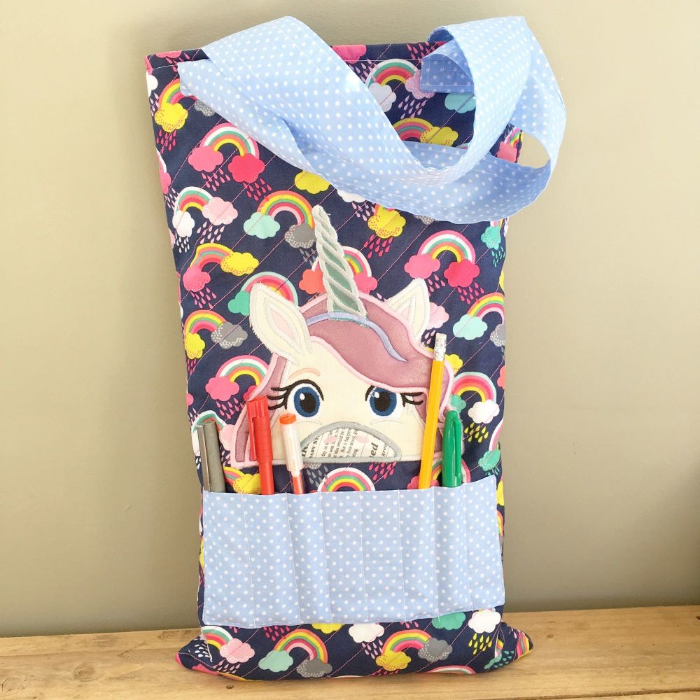 Unicorns and rainbows colouring book tote bag book bag