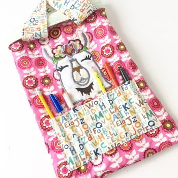 Llama colouring book tote bag book bag