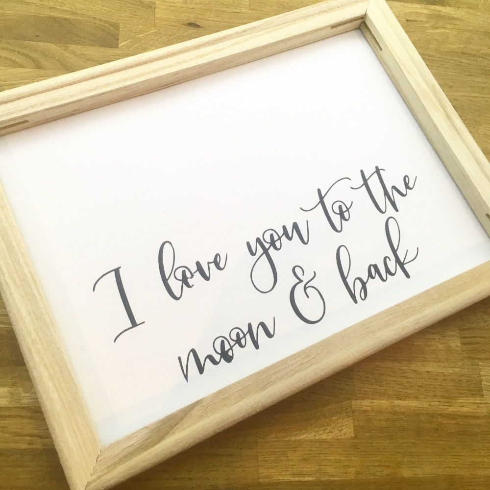 I Love you to the moon and back framed canvas wall art