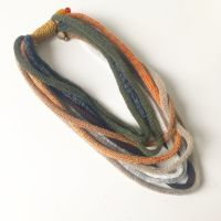 Autumnal knitted scarf necklace by Sewincarnation UK