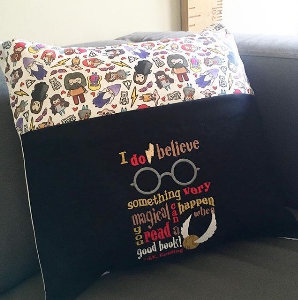 Magical wizarding reading pillow cushion