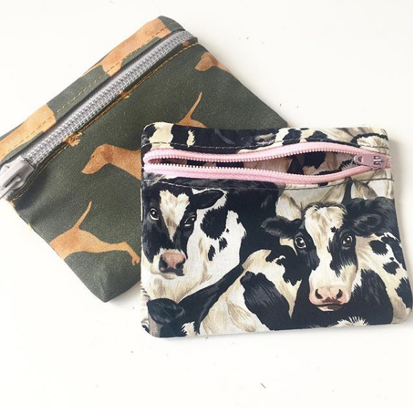 Cow print zip up coin purse and pill pouch jewellery pouch