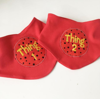 Thing one & Thing two Dr Seuss  bib set