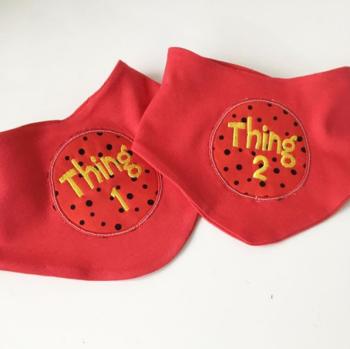 Thing one & Thing two Dr Seuss  bib set