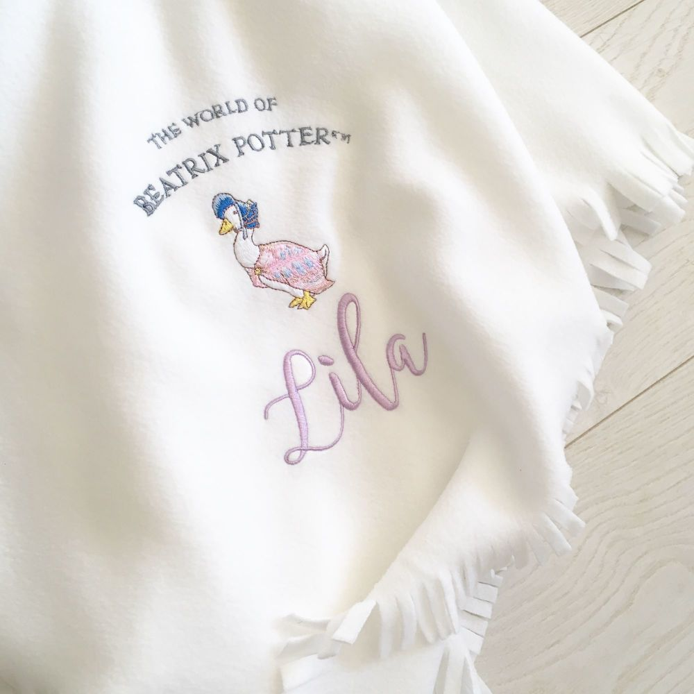 Personalised Jemima Puddleduck  fleece baby cot  blanket